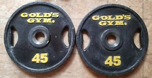 "Vintage Gold's Gym 45Lb Olympic Weight Plates, 2"" Hole, Set Of 2"