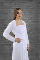New Womens Bridal Ivory/White Bolero Shrug Wedding Jacket S/M/L/XL/XXL/XXXL