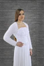 New Womens Bridal Ivory/White Bolero Shrug Wedding Jacket S/M/L/XL/XXL/XXXL