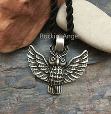 Argento anticato PLT Collana Con Pendente Gufo, Viking Norreno Slavi tribale totem Regalo