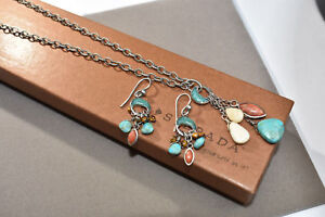 Silpada Turquoise Coral Necklace Earrings Set N1508 W1523 Dangle