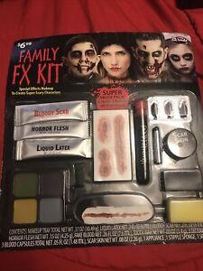 Family FX Makeup Kit Fun World Deluxe Halloween Zombie Horror Flesh Liquid Latex