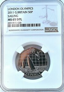 2011 Olympics Sailing 50p MS65 DPL NGC Britain