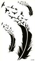 Temporäres Tattoo Federn Vögel Bird Wasserfest Einmal Klebetattoo