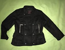 YOKI BLACK DRESS COAT JACKET SIZE 4T Little Girl Ruffled Zip Pockets Wool Blend