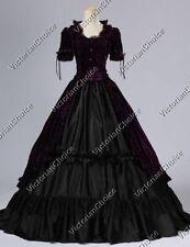 Victorian Gothic Velvet Steampunk Dress Vampire Women Halloween Costume 061 S