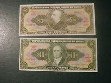 Brazil 2 banknote 5 Cruzeiros 1 Centavos 1953 1967  !!!!!