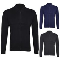 New Mens Knitted Plain Jumper Cardigan With Front Zip and Half Ribbed Sweatshirt