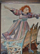"""Woman Singing Dancing Watercolor Painting by Tricaro Framed Picture 17"""" x 15"""""""