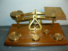 ANTIQUE Brass & Wood WEIGHT SCALE - MADE in ENGLAND - 4  Measuring DISC TOKENS