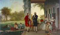 "George Washington At Mount Vernon Large 11"" x 18.5"" Real Canvas Fine Art Print"