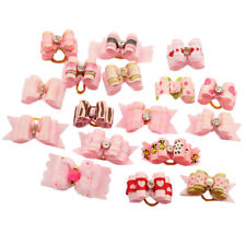 10pcs Pink Rhinestone Pet Hair Bows W/Rubber Bands Dog Cat Headress Accessory