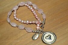 Quartz 'Love Conquers All' Bracelet Vintage Genuine Pink Pearl and Pink