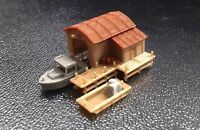 Outland Models Train Railway Scenery Boathouse with Boat and Pier Z Scale 1:220