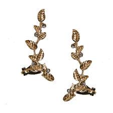 Gold Leaf Earrings Ear Lobe Climber Crawler Cuff New Crystal Festival | 40% OFF