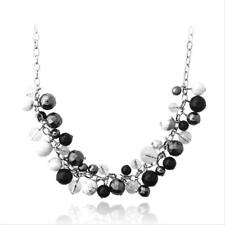 Stainless Steel Onyx, White Howalite, & Hematite Cluster Bead Necklace, 24""