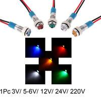 With Wire LED Metal Indicator Light 6mm Signal Lamp 3V 5V 6V 9V 12V 24V 220V