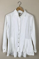Comfy USA Womens Small 100% Linen Button Down Tunic Top White Peplum Long Sleeve