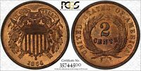1864 Large Motto 2 Cent Piece PCGS Secure MS 66 RB & CAC Approved Lots of Red !!