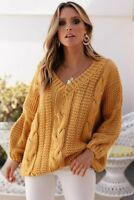 NEW SNDYS Sundays The Label WOMENS QUE KNIT OVERSIZED JUMPER - MUSTARD