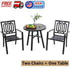 Outdoor Furniture Set Round End Table Metal Dining Chairs For Patio Garden Black