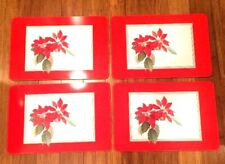 Vintage Box Set of 4 Jason Cork Back Placemats Poinsettia Design
