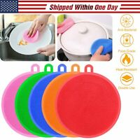 5PCS Round Silicone Dish Washing Kitchen Cleaning Sponge Scrubber Anti-bacterial