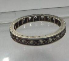 Antico anni'20 eternità anello oro bianco INCISI BAND DIAMOND incollare no riserva