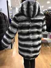 Rex Chinchilla Rabbit Fur Jacket with Hood Sizes S M L Hoodie
