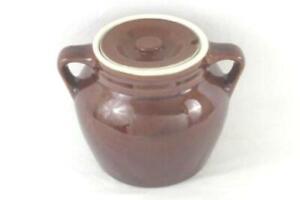 Hall Ceramic Brown Glazed Cookie Jar Handles Lids Medium Size