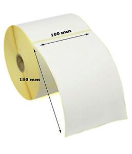 500 THERMAL LABELS 100MM x 150MM PLAIN 500 WHITE ROLLS ZEBRA, CITIZEN, TOSHIBA
