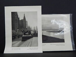 Chicago, Illinois, c. 1930s Photogravure, Two Double-Sided Prints. Rare.