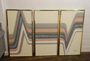 Vintage 70's Signed Letterman Triptych 3 Panel Geometric Art