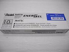 12 refill Pentel LR10 1.0mm roller ball pen for Ener Gel BL80 Blue