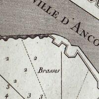 Carte Géographique XVIIIe Ancône Marches Italie Ancona Ankona Анкона 1764
