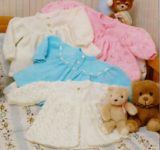 """Baby Yoked Matinee Jackets 4 ply & DK Lacy or Plain 14"""" - 18""""  Knitting Pattern"""