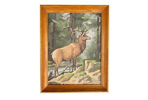 Vintage Buck Deer Elk Paint By Number Framed Painting Hunting PBN Cabin Decor