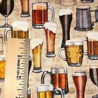 QT On Tap Beer Mugs Glasses 100% cotton fabric by the yard 36 x 44 28420 E Ecru