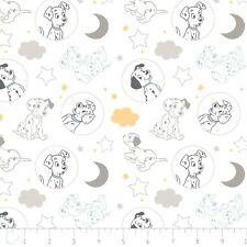 Nursery Baby Disney Fabric - 101 Dalmatians Time for Bed White - Camelot YARD