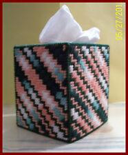GREEN-MELON-WHITE-ORANGE HANDMADE PLASTIC CANVAS TISSUE BOX COVER TOPPER