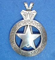 Western Jewelry Antique Silver Engraved Star Concho Pendant Kit