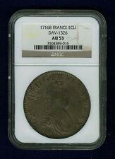 """FRANCE LOUIS XV 1716-B """"ECU"""" SILVER COIN, ALMOST UNCIRCULATED CERTIFIED NGC AU53"""