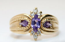 Vintage 10K Yellow Gold Extremely Ornate Amethyst & Diamond Ring
