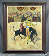 Abstract Bullfighting Oil Painting signed J. Colman, 1963