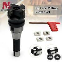 R8 FMB22 Straight Shank Arbor + 400R Face End Mill Cutter + 4Pcs Carbide Inserts