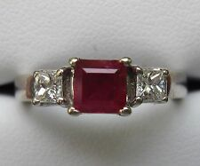 Princess Cut Ruby & Diamond Ring with Appraisal Solid 14k White Gold 3-Stone PPF