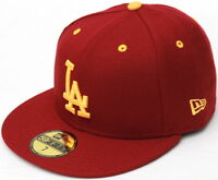 Los Angeles Dodgers in USC Colors Cardinal and Gold New Era 59Fifty Fitted Hat
