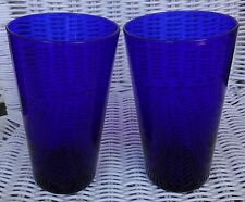 """LIBBEY Cobalt Blue Glass Flare Large Tumblers 6"""" Lot of 2"""