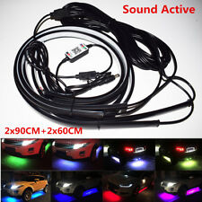 4x RGB LED Neon Car Underglow Underbody Tube Strip Light Music Sound Active App