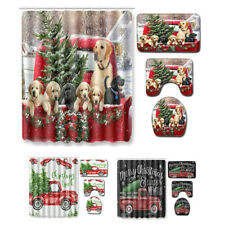 Christmas Farmhouse Red Truck Shower Curtain Pine Fir Tree Bathroom Flannel Mat